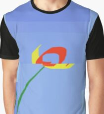 Blue Sky with Red and Yellow Tulip  Graphic T-Shirt