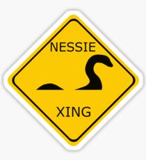 Caution Nessie Crossing Sign Sticker
