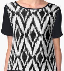 Seamless black and white ikat ethnic pattern Women's Chiffon Top