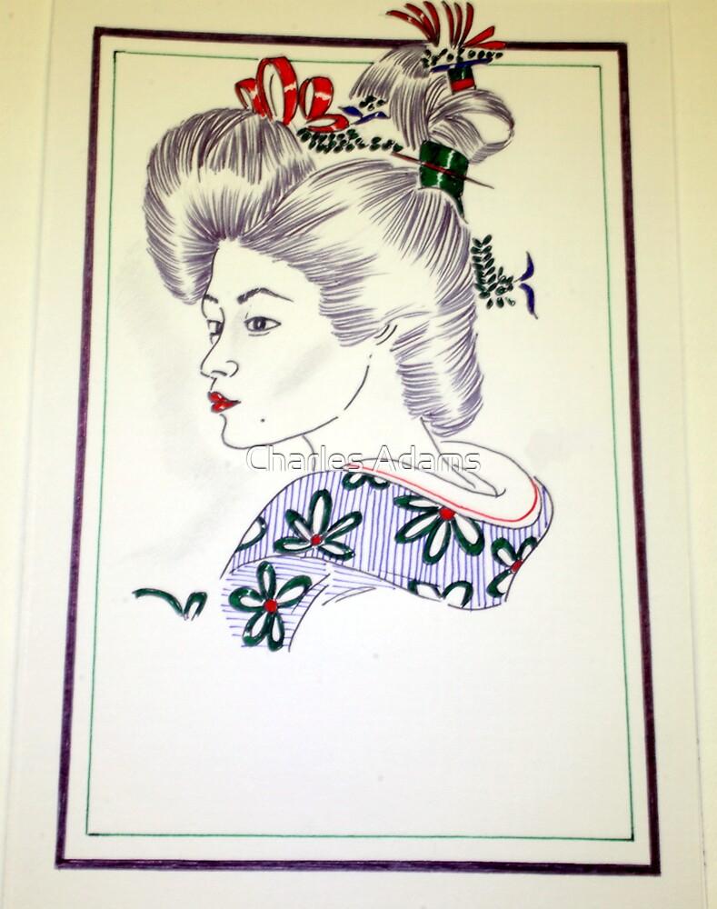 Geisha Girl(pen drawing) by Charles Adams