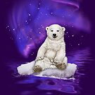 Northern Lights Polar Bear by Beverlytazangel