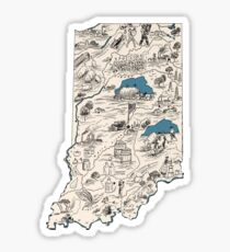 Indiana Vintage Picture Map Sticker
