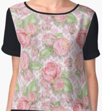 Watercolor Roses Pattern Chiffon Top
