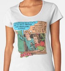Funny Drawing of Horrible Kids Being Catty Women's Premium T-Shirt