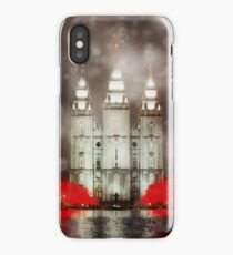 Snowfall at Temple Square iPhone Case/Skin