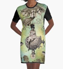 Undersea Steampunk: Aurelia & her Jelly Cruiser Graphic T-Shirt Dress