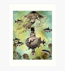 Undersea Steampunk: Aurelia & her Jelly Cruiser Art Print
