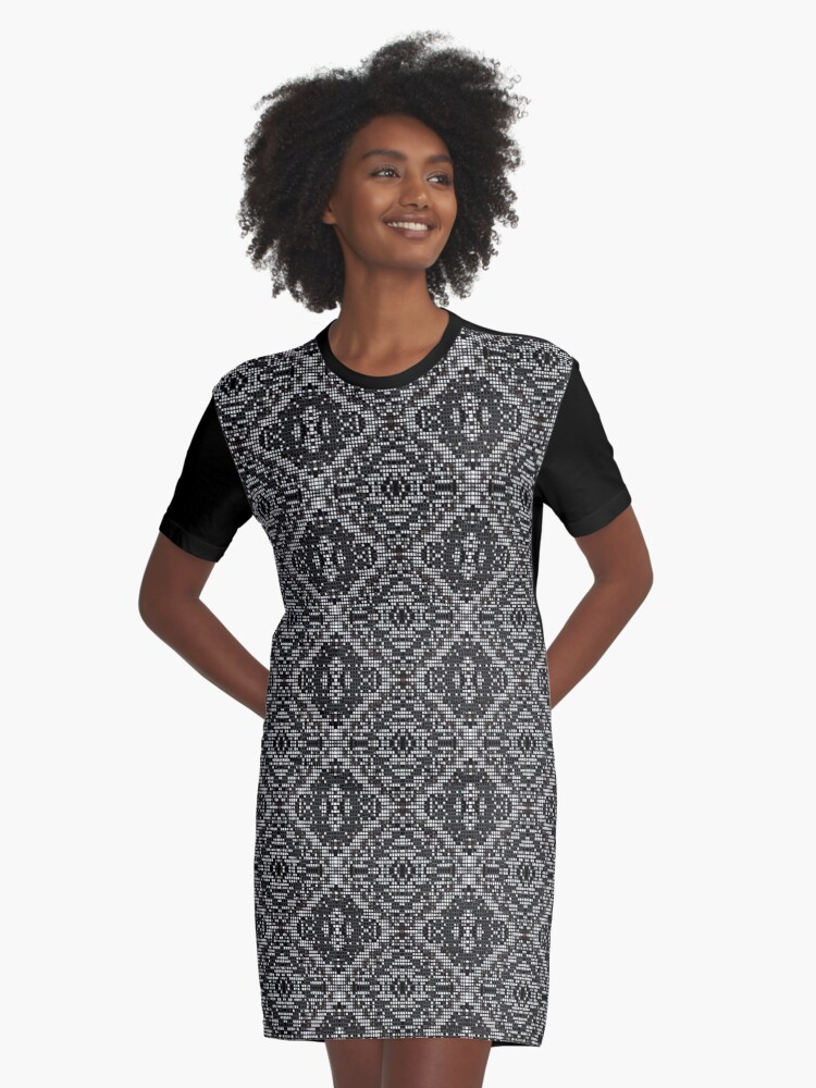 Mosaic Industrial Grid Graphic T-Shirt Dress Front