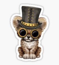 Steampunk Baby Cheetah Cub Sticker