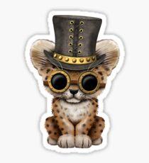Steampunk Baby Leopard Cub  Sticker