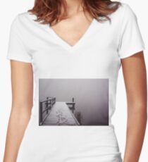 Footprints in the Snow Women's Fitted V-Neck T-Shirt