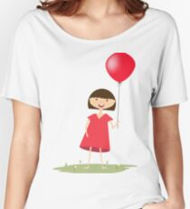 Cute girl with red balloon Women's Relaxed Fit T-Shirt
