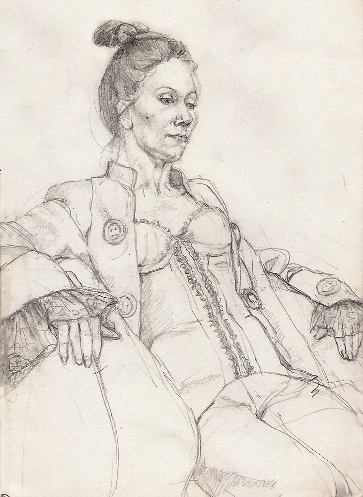 Woman in a jacket - pencil drawing by Fiona O'Beirne