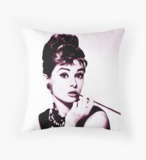 Audrey Hepburn vintage color Throw Pillow