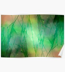 Abstract Green Weeds Poster