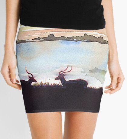 Impala in an African landscape Mini Skirt