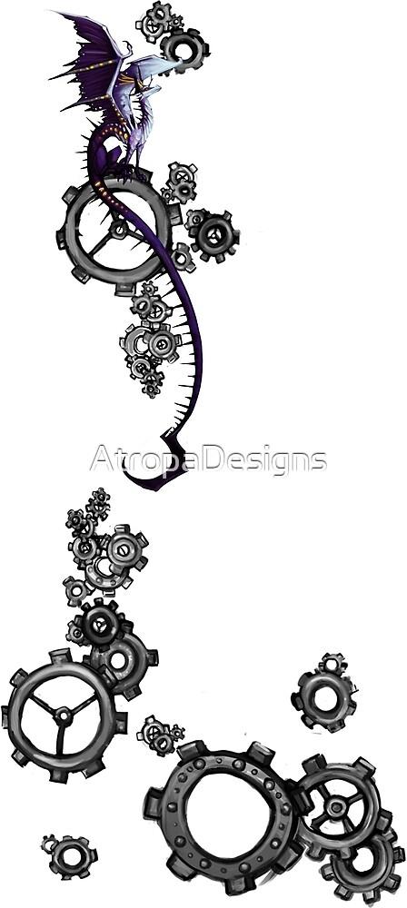Tiny Dragon Steampunk Gears by AtropaGrimm