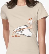 Giraffe and Pencil Womens Fitted T-Shirt