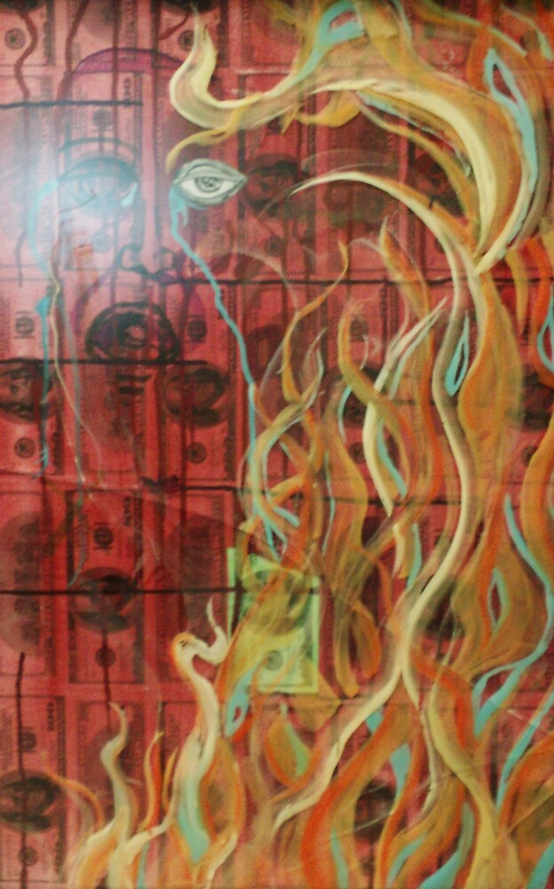 Burning Materialistic Desire (Mixed Media)- by Robert Dye