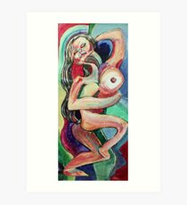 Dancing Female Nude (Acrylics)- Art Print
