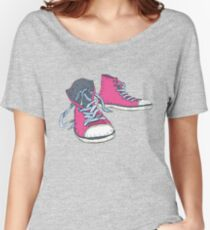 Pink Hi-top Sneakers Women's Relaxed Fit T-Shirt