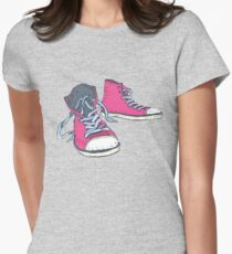 Pink Hi-top Sneakers Womens Fitted T-Shirt