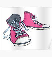 Pink Hi-top Sneakers Poster