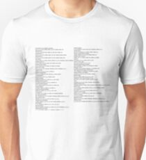 GTA SAN ANDREAS PS2 cheat list Unisex T-Shirt
