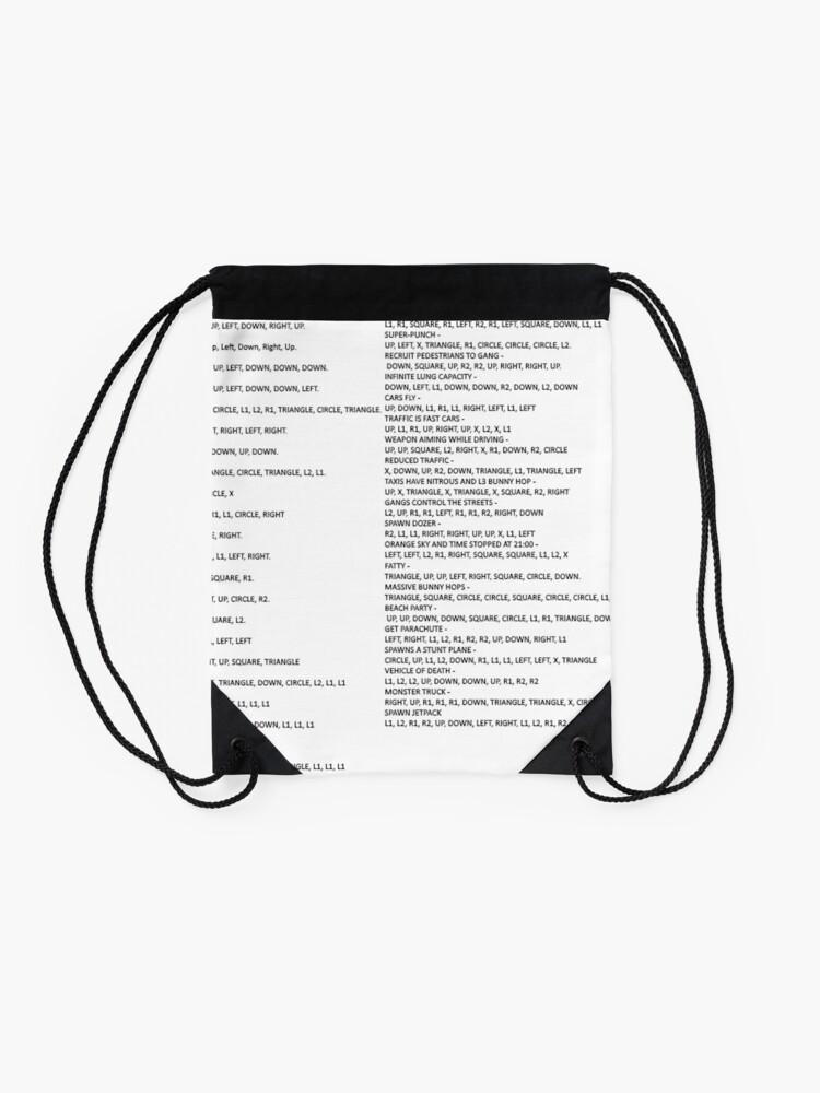 GTA SAN ANDREAS PS2 cheat list   Drawstring Bag