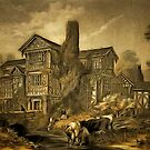 An old style digital painting of Moreton Hall, Cheshire 1858 by Dennis Melling