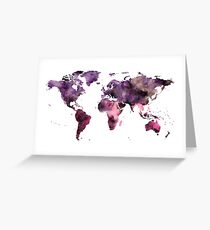Watercolor World Map Pink Purple Greeting Card