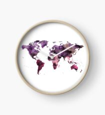 Watercolor World Map Pink Purple Clock