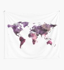 Watercolor World Map Pink Purple Wall Tapestry