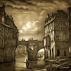 My old style digital painting of Tannery Bridge, Angers, France 1843 by Dennis Melling