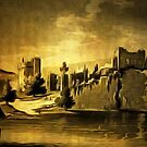 My old style digital painting of Chepstow Castle at Chepstow, Monmouthshire, Wales by Dennis Melling