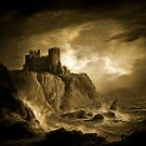My old style digital painting of Tantallon Castle, East Lothian, Scotland c. 1816 by Dennis Melling