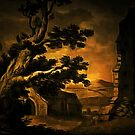 My old style digital painting of St. Dogmael's Abbey, Pembrokeshire, Wales 1803 by Dennis Melling