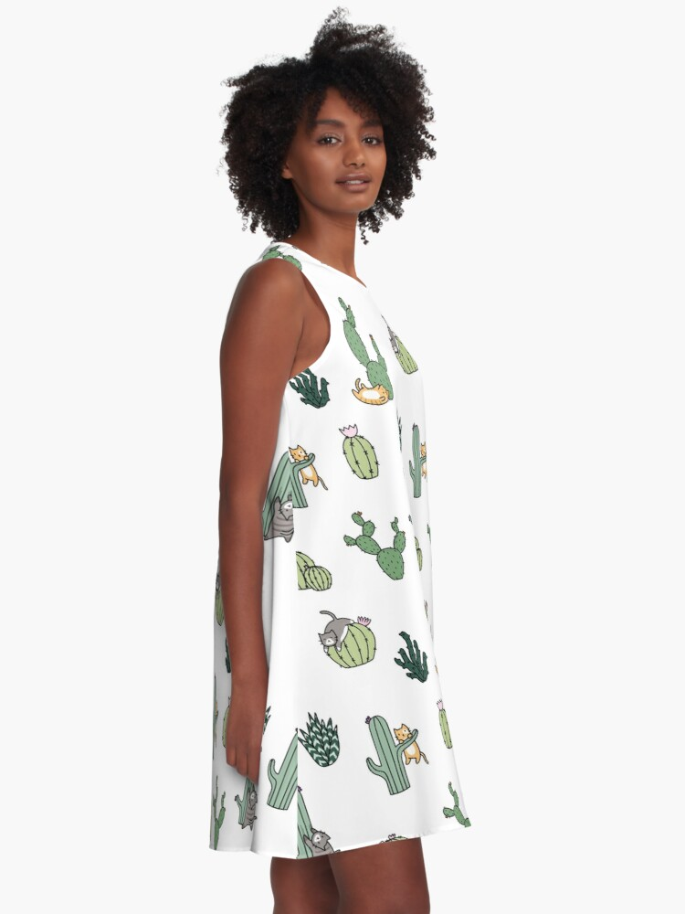 Alternate view of Cacti Cats A-Line Dress