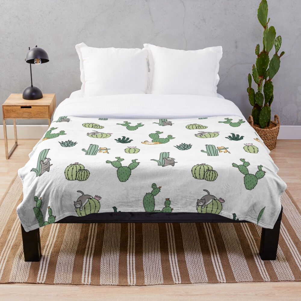 Cacti Cats Throw Blanket