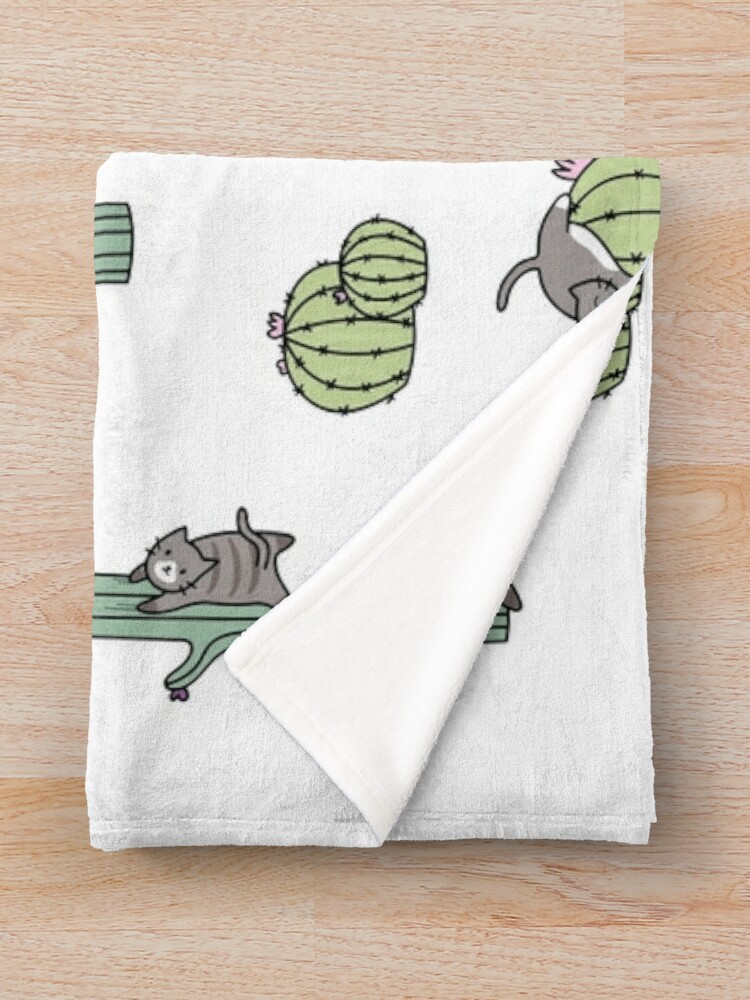 Alternate view of Cacti Cats Throw Blanket