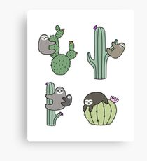 Cacti Sloths Canvas Print