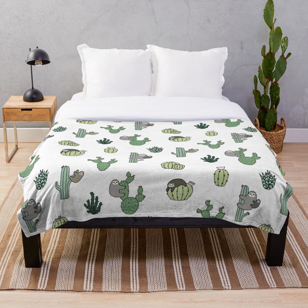 Cacti Sloths Throw Blanket