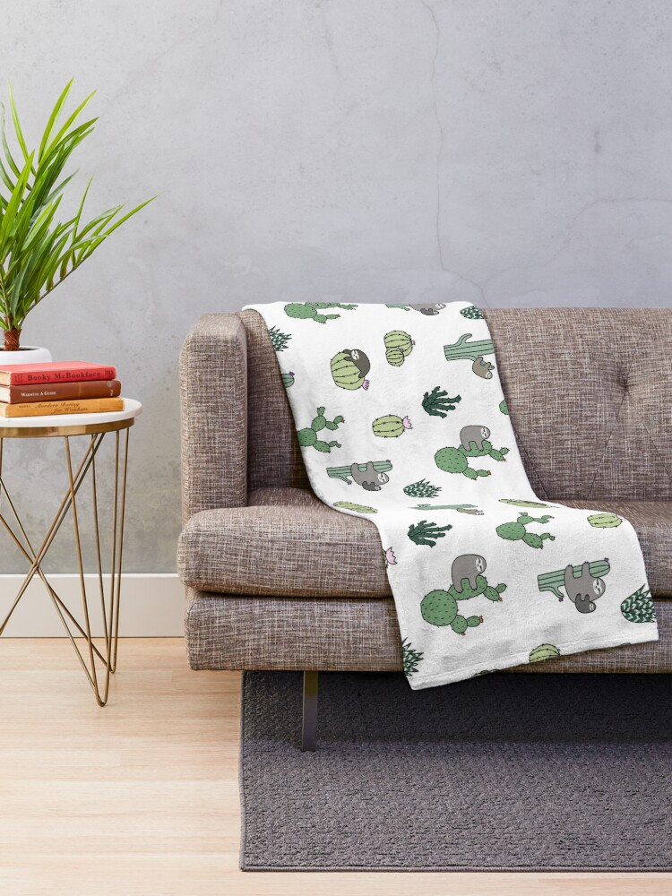 Alternate view of Cacti Sloths Throw Blanket