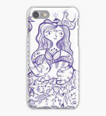 inkbrushgirl with cat iPhone Case/Skin