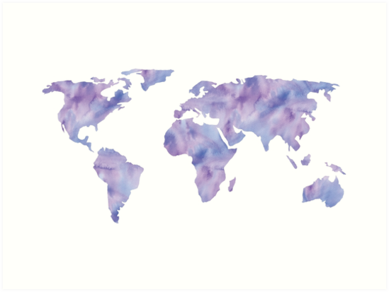 World map light blue purple indigo watercolor art prints by world map light blue purple indigo watercolor by naturemagick gumiabroncs Image collections