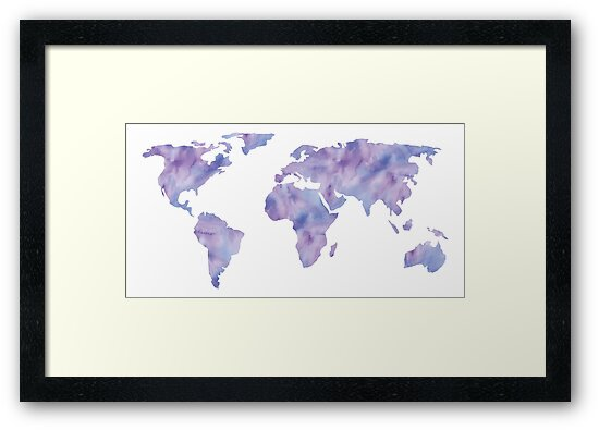 World map light blue purple indigo watercolor framed prints by world map light blue purple indigo watercolor by naturemagick gumiabroncs Gallery