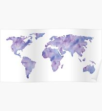 World Map Light Blue Purple Indigo Watercolor Poster