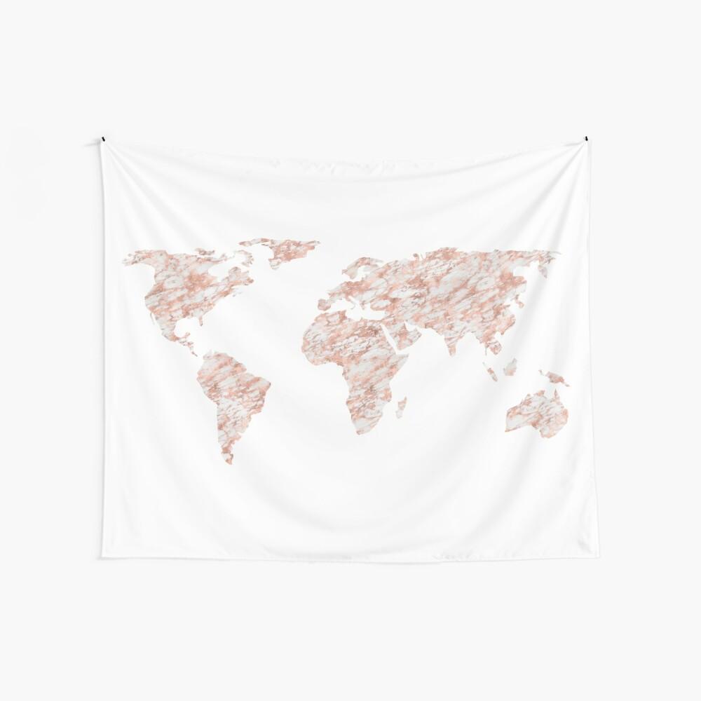 Weltkarte Rose Gold Marmor Wandbehang