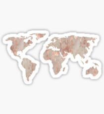 World Map Marble Rose Gold Shimmer Sticker