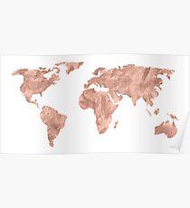 Weltkarte Rose Gold Pink Vintage Poster